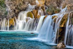 Skradinski buk, long exposure. Part of the largest waterfall on river Krka, Skradinski buk. Photo is taken during sunset in spring of 2017 Stock Images