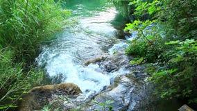 Skradinski Buk, waterfall in national park Krka, m. Beautiful landscape in Krka national park. Europe. Transfer focus from moths of the river stock video footage