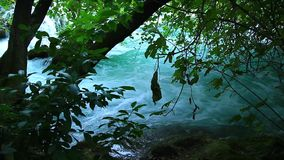 Skradinski Buk, waterfall in national park Krka, m. Beautiful landscape in Krka national park. Europe. Transfer focus from moths of the river stock footage