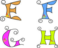 Skraj alfabet vektor illustrationer