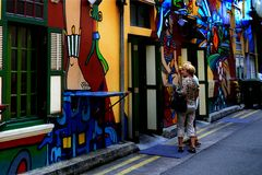 Skraj bar på Haji Lane Arkivfoto