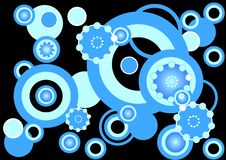 skraj blåa cirklar för bakgrund Vektor Illustrationer