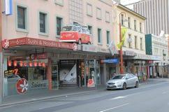 Skraj bränning shoppar Hobart Arkivbild