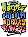 Skraj färgrikt alfabet för tecknad filmstilsortstyp royaltyfri illustrationer