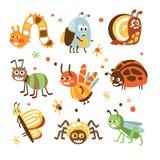 Skraj fel- och krypsamling av små djur med att le framsidor och stiliserad design av kroppar royaltyfri illustrationer