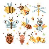 Skraj fel- och krypuppsättning av små djur med att le framsidor och stiliserad design av kroppar royaltyfri illustrationer