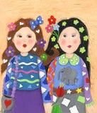 skraj flickvänner två stock illustrationer