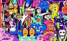 Skraj gigantisk collage stock illustrationer