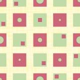 Skraj gröna och röda fyrkanter med inre kretsar och rektanglar i geometrisk design Sömlös vektormodell på kanfas royaltyfri illustrationer