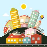 Skraj husvektorlandskap stock illustrationer