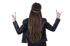 Skraj innegrej för härlig ung hippievippa Arkivbild