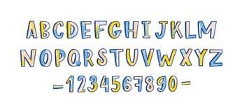 Skraj latinsk stilsort eller barnsligt engelskt alfabet som dekoreras med målarfärgfläckar och prickar Ordnade färgrika bokstäver royaltyfri illustrationer