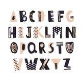 Skraj latinsk stilsort eller dekorativ hand för engelskt alfabet som dras på vit bakgrund Ordnade idérika texturerade bokstäver i stock illustrationer