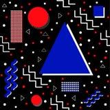Skraj Memphis Pattern på svart Arkivfoton