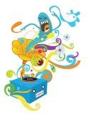 Skraj phonograph vektor illustrationer