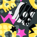 Skraj sömlös grov grungemodell för skalle, templat för modern design stock illustrationer