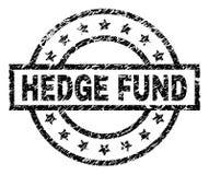 Skrapad texturerad HEDGE FUND stämpelskyddsremsa stock illustrationer