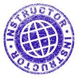 Skrapad texturerad INSTRUKTÖR Stamp Seal royaltyfri illustrationer