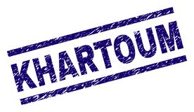 Skrapad texturerad KHARTOUM stämpelskyddsremsa stock illustrationer