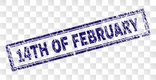 Skrapad 14TH AV den FEBRUARI rektangelstämpeln Royaltyfria Foton