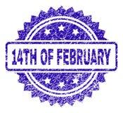 Skrapad 14TH AV den FEBRUARI stämpelskyddsremsan Royaltyfri Foto