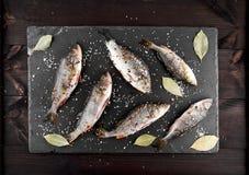 Skrapade den crucian flodfisken och sittpinnen i kryddor och saltar \, Arkivbild