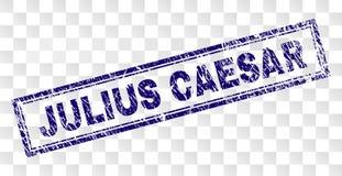 Skrapade JULIUS CAESAR Rectangle Stamp royaltyfri illustrationer