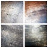skrapade set texturer för grunge metall Arkivfoto