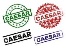 Skrapade texturerade CAESAR Stamp Seals stock illustrationer
