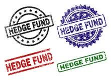 Skrapade texturerade HEDGE FUND skyddsremsastämplar stock illustrationer
