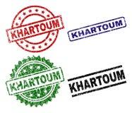 Skrapade texturerade KHARTOUM stämpelskyddsremsor vektor illustrationer