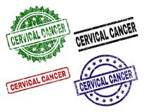 Skrapade texturerade skyddsremsastämplar för CERVIKAL CANCER royaltyfri illustrationer