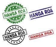 Skrapade texturerade skyddsremsastämplar för HANGA ROA royaltyfri illustrationer