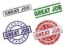 Skrapade texturerade STORA JOB Stamp Seals vektor illustrationer