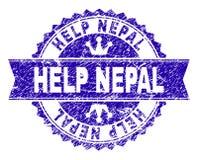Skrapat texturerat HJÄLP den NEPAL stämpelskyddsremsan med bandet vektor illustrationer
