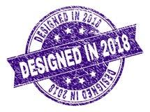 Skrapat texturerat PLANLAGT I skyddsremsa för 2018 stämpel Stock Illustrationer