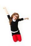 Skratta affärsliten flicka isoalted på vitbakgrund Arkivbild