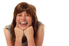 skratta barn för gullig lady arkivfoto
