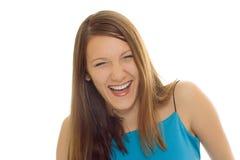 skratta barn för skönhetbrunettflicka arkivbilder