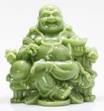 Skratta Buddha Feng Shui för grönt fett Arkivfoton