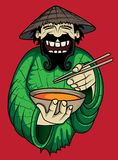 Skratta den asiatiska kocken som tjänar som varm kryddig thai soppa Arkivfoton