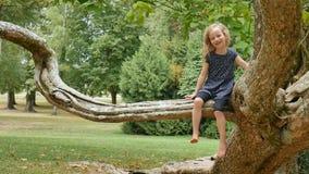 Skratta den blonda flickan som sitter på trädfilial i, parkera under sommardag stock video
