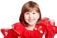 Skratta den bärande ferieklänningen för flicka Fotografering för Bildbyråer