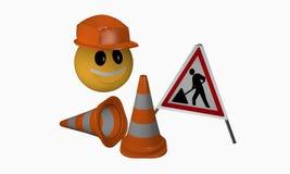 Skratta emoticonen med den skyddande hjälm- såväl som trafikkotten royaltyfri illustrationer