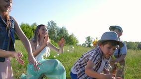 Skratta fångar barn såpbubblor på grön äng i sommar arkivfilmer