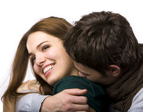 skratta förälskelse för par Arkivfoto
