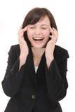 skratta för affärskvinna Royaltyfri Foto