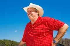 skratta för cowboy som är moget Arkivfoton