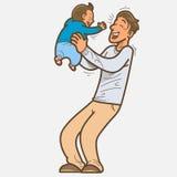 Skratta för fader och för son Arkivbild
