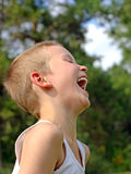 skratta för pojke Royaltyfri Bild